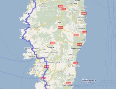 Trasa z Bonifacio do Calvi przez Ajaccio