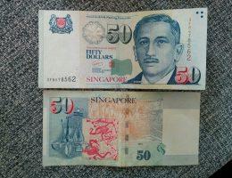 50 dolarów singapurskich, czyli ok 145 złotych